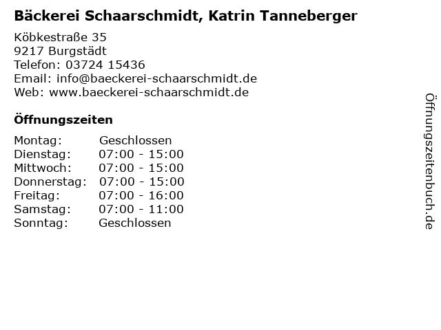 Bäckerei Schaarschmidt, Katrin Tanneberger in Burgstädt: Adresse und Öffnungszeiten