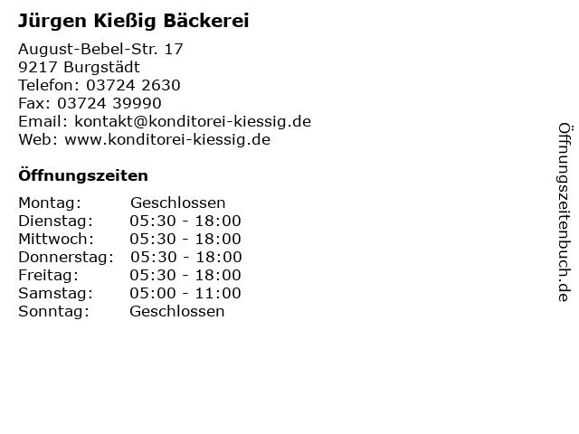 Jürgen Kießig Bäckerei in Burgstädt: Adresse und Öffnungszeiten