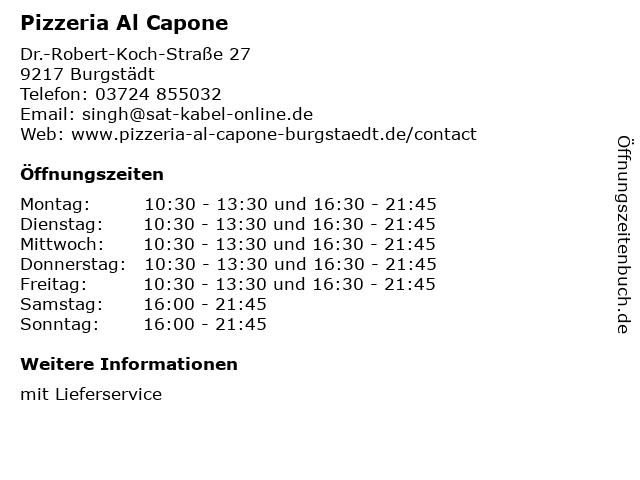 Pizzeria Al Capone in Burgstädt: Adresse und Öffnungszeiten