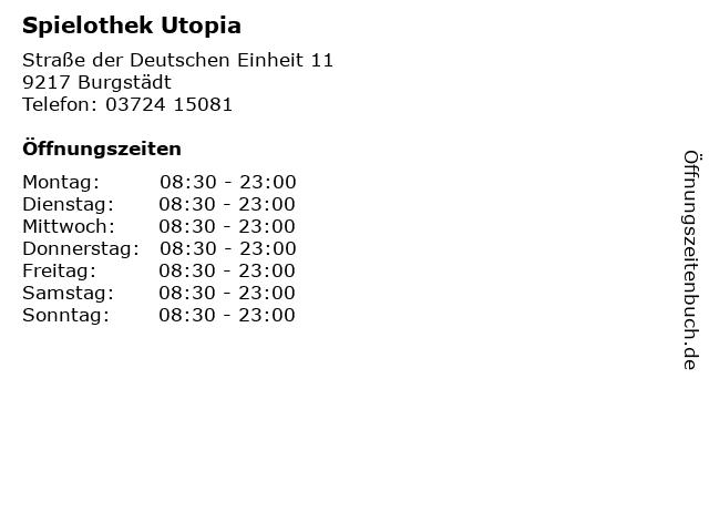 Spielothek Utopia in Burgstädt: Adresse und Öffnungszeiten