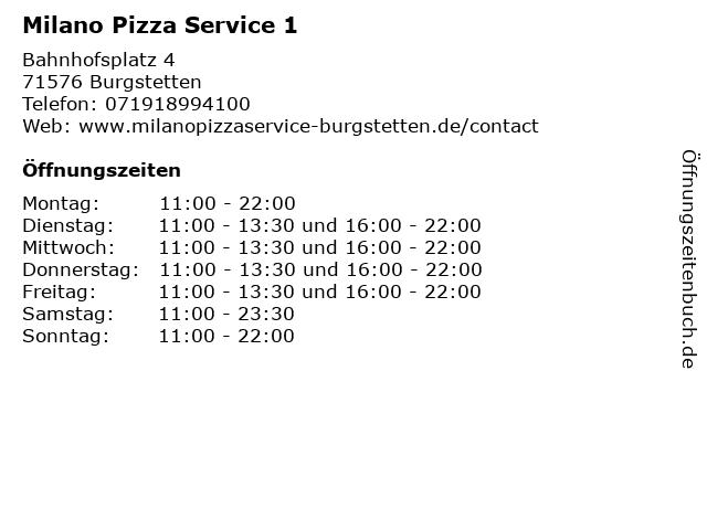Milano Pizza Service 1 in Burgstetten: Adresse und Öffnungszeiten