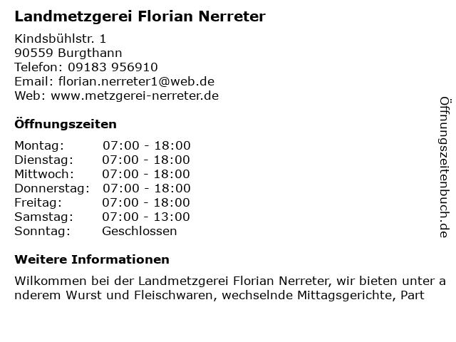 Landmetzgerei Florian Nerreter in Burgthann: Adresse und Öffnungszeiten