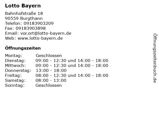 Lotto Bayern in Burgthann: Adresse und Öffnungszeiten
