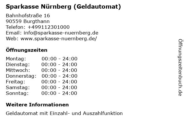 Sparkasse Nürnberg in Burgthann: Adresse und Öffnungszeiten