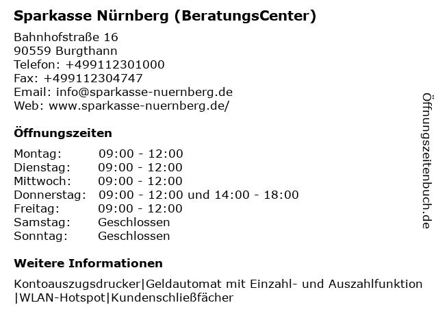 Sparkasse Nürnberg - (Geldautomat Geschäftsstelle) in Burgthann: Adresse und Öffnungszeiten