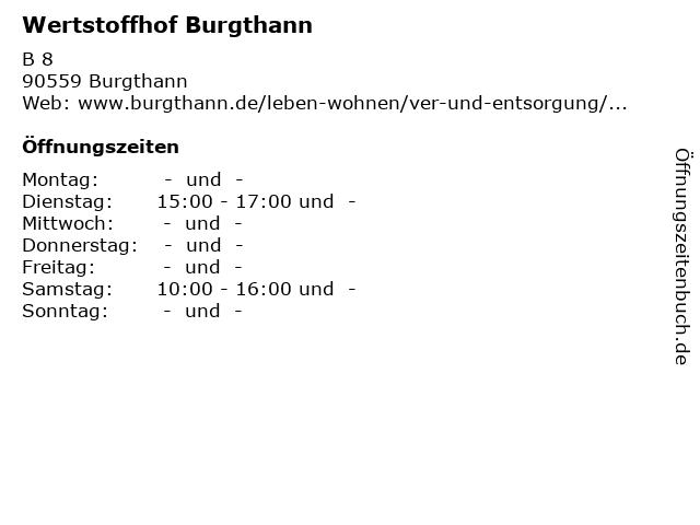 Wertstoffhof Burgthann in Burgthann: Adresse und Öffnungszeiten