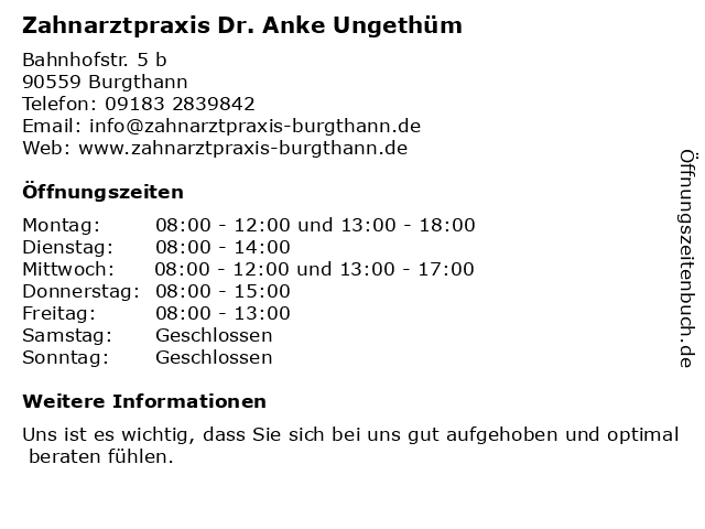 Zahnarztpraxis Dr. Anke Ungethüm in Burgthann: Adresse und Öffnungszeiten