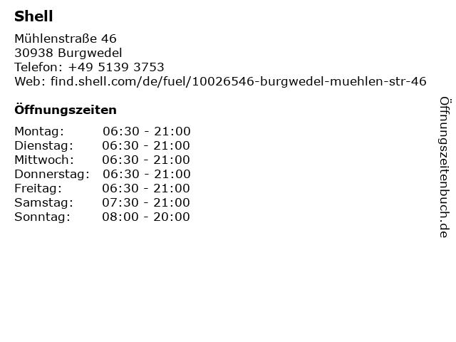Shell Station in Burgwedel: Adresse und Öffnungszeiten