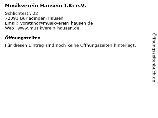 Musikverein Hausem I.K: e.V. in Burladingen-Hausen: Adresse und Öffnungszeiten