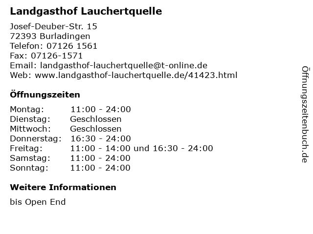 Landgasthof Lauchertquelle in Burladingen: Adresse und Öffnungszeiten