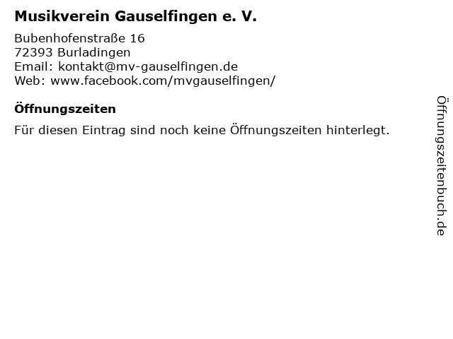 Musikverein Gauselfingen e. V. in Burladingen: Adresse und Öffnungszeiten