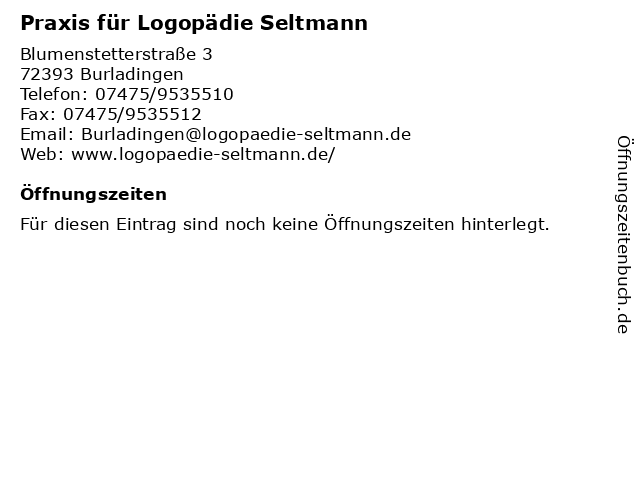 Praxis für Logopädie Seltmann in Burladingen: Adresse und Öffnungszeiten