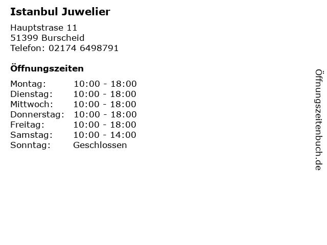 Istanbul Juwelier in Burscheid: Adresse und Öffnungszeiten