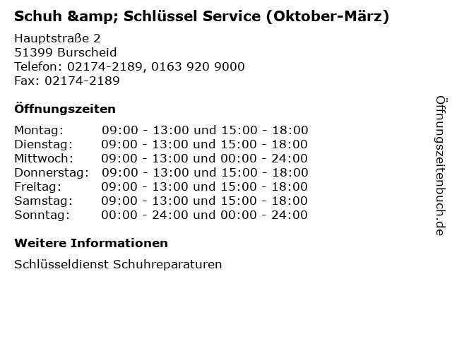 Schuh & Schlüssel Service (Oktober-März) in Burscheid: Adresse und Öffnungszeiten