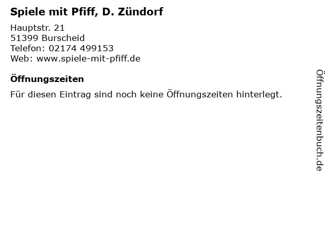 Spiele mit Pfiff, D. Zündorf in Burscheid: Adresse und Öffnungszeiten