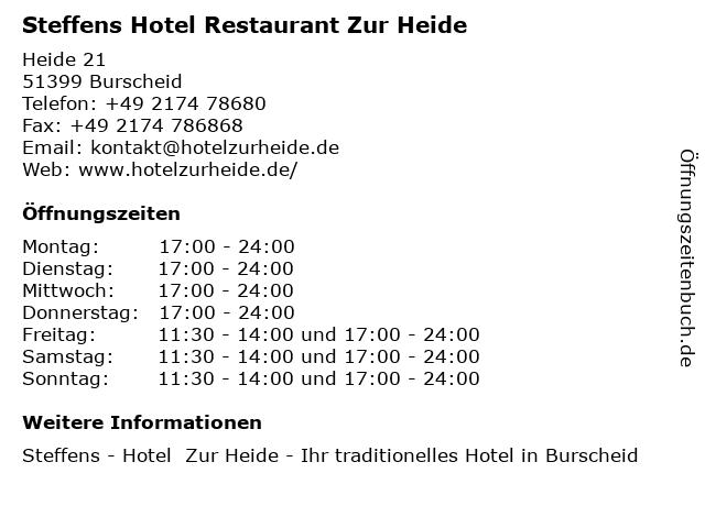 Steffens Hotel Restaurant Zur Heide in Burscheid: Adresse und Öffnungszeiten