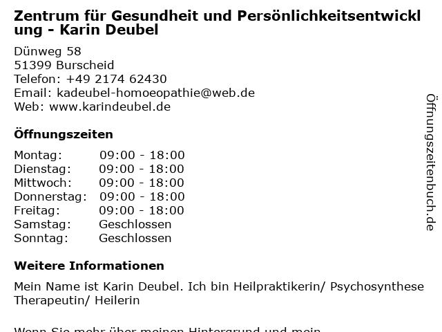Zentrum für Gesundheit und Persönlichkeitsentwicklung - Karin Deubel in Burscheid: Adresse und Öffnungszeiten
