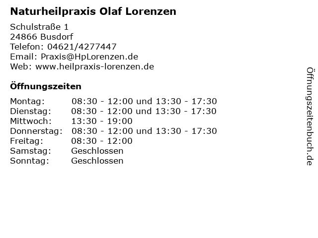 Olaf Lorenzen Heilpraktiker Chiropraktik Osteopathie Neuraltherapie in Husum: Adresse und Öffnungszeiten