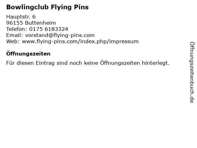 Bowlingclub Flying Pins in Buttenheim: Adresse und Öffnungszeiten