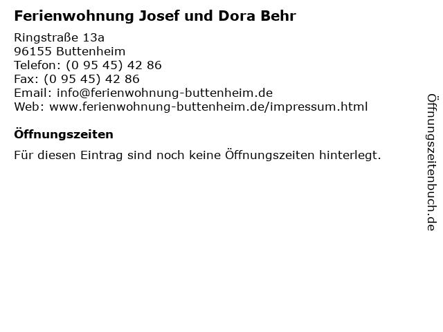 Ferienwohnung Josef und Dora Behr in Buttenheim: Adresse und Öffnungszeiten