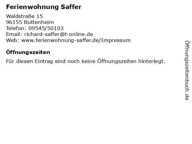 Ferienwohnung Saffer in Buttenheim: Adresse und Öffnungszeiten