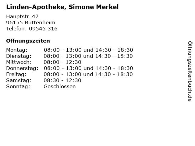 Linden-Apotheke, Simone Merkel in Buttenheim: Adresse und Öffnungszeiten