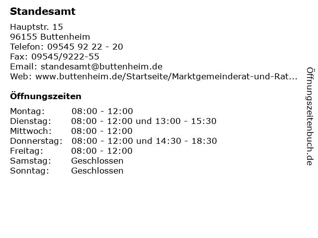 Standesamt in Buttenheim: Adresse und Öffnungszeiten