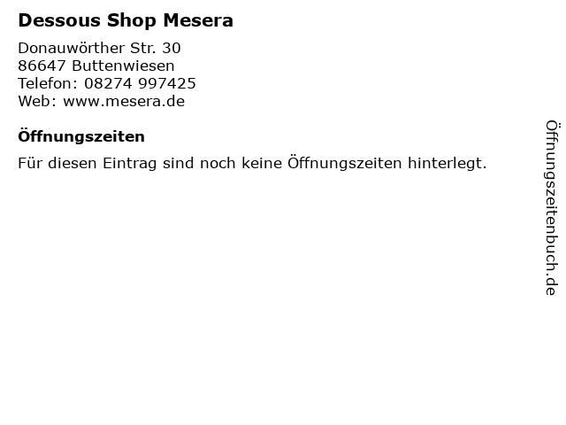 Dessous Shop Mesera in Buttenwiesen: Adresse und Öffnungszeiten