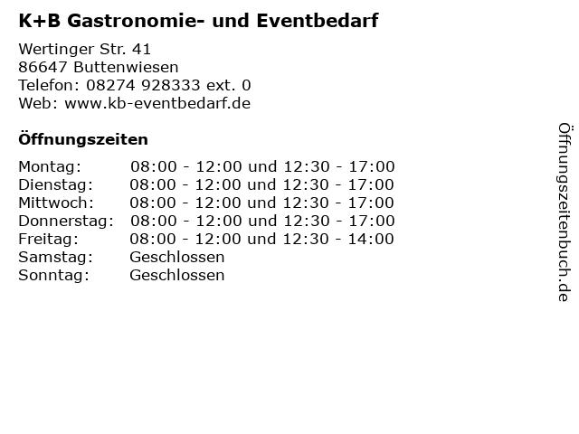 K+B Gastronomie- und Eventbedarf in Buttenwiesen: Adresse und Öffnungszeiten