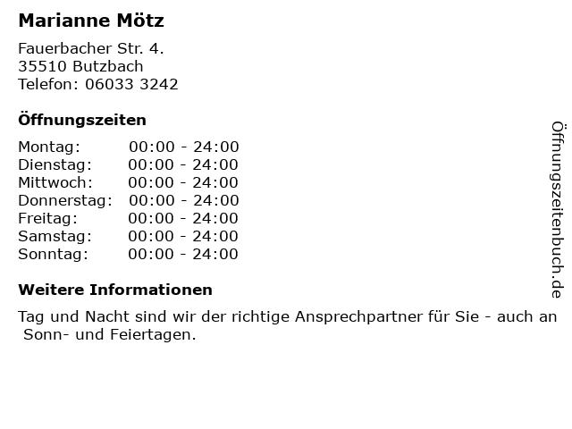 Marianne Mötz in Butzbach: Adresse und Öffnungszeiten