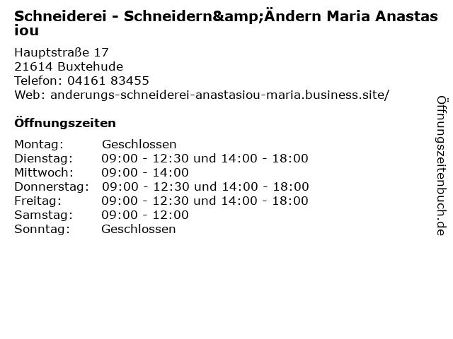 Schneiderei - Schneidern&Ändern Maria Anastasiou in Buxtehude: Adresse und Öffnungszeiten