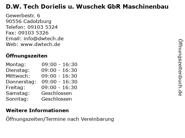 D.W. Tech Dorielis u. Wuschek GbR Maschinenbau in Cadolzburg: Adresse und Öffnungszeiten