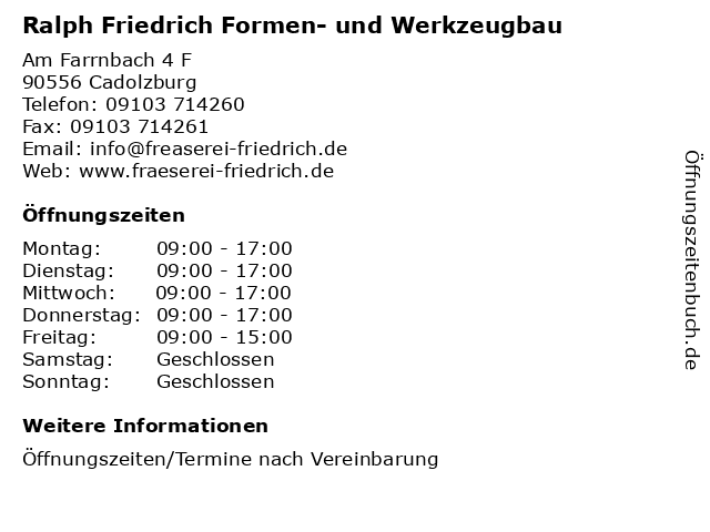 Ralph Friedrich Formen- und Werkzeugbau in Cadolzburg: Adresse und Öffnungszeiten