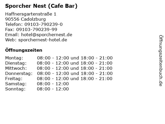 Sporcher Nest (Cafe Bar) in Cadolzburg: Adresse und Öffnungszeiten