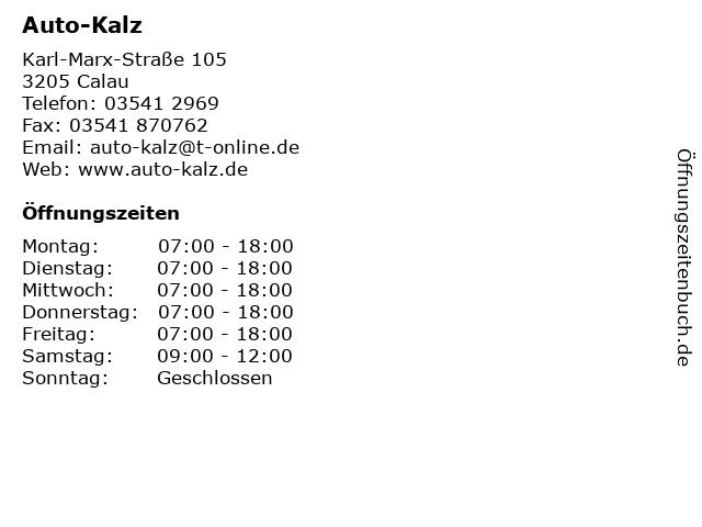 Auto-Kalz in Calau: Adresse und Öffnungszeiten