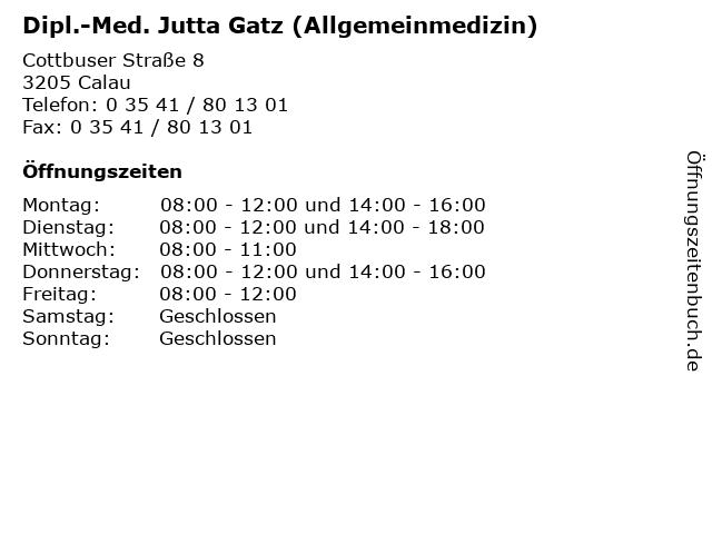 Dipl.-Med. Jutta Gatz (Allgemeinmedizin) in Calau: Adresse und Öffnungszeiten