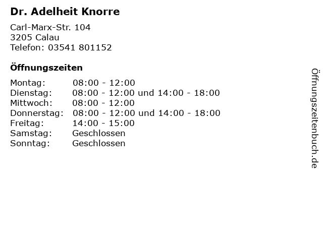 Dr. Adelheit Knorre in Calau: Adresse und Öffnungszeiten