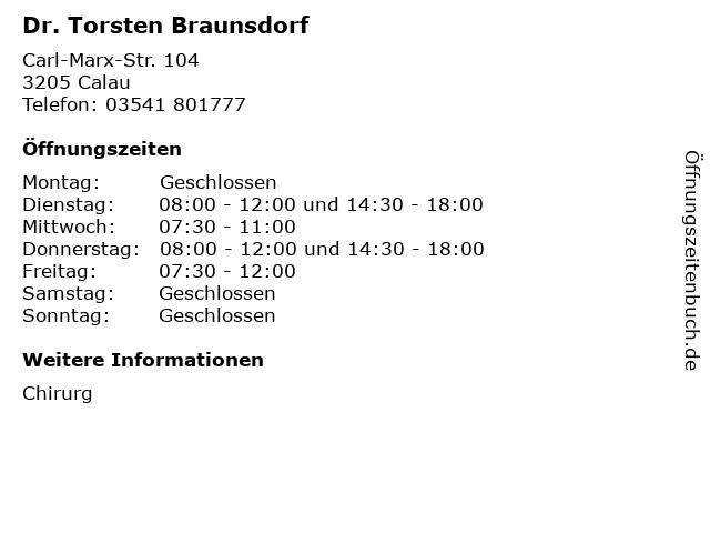 Dr. Torsten Braunsdorf in Calau: Adresse und Öffnungszeiten