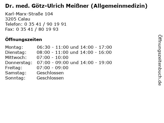 Dr. med. Götz-Ulrich Meißner (Allgemeinmedizin) in Calau: Adresse und Öffnungszeiten