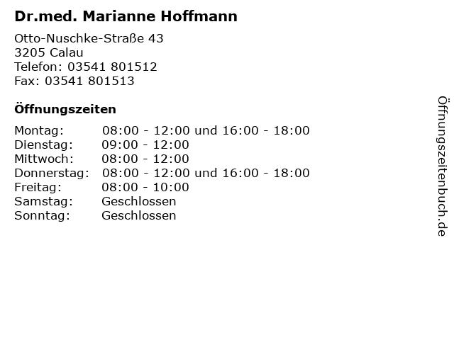 Dr.med. Marianne Hoffmann in Calau: Adresse und Öffnungszeiten