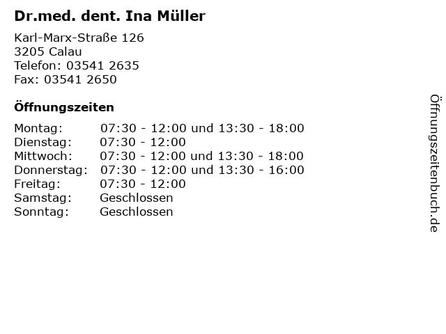 Dr.med. dent. Ina Müller in Calau: Adresse und Öffnungszeiten