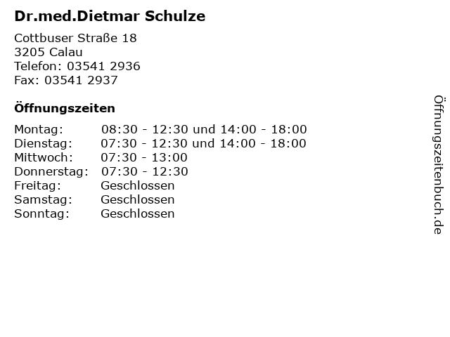 Dr.med.Dietmar Schulze in Calau: Adresse und Öffnungszeiten