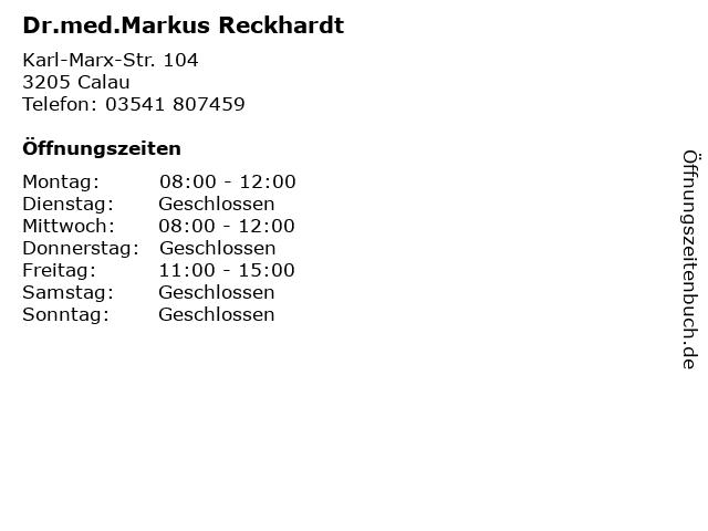 Dr.med.Markus Reckhardt in Calau: Adresse und Öffnungszeiten