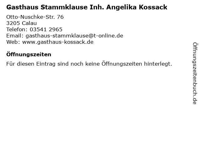 Gasthaus Stammklause Inh. Angelika Kossack in Calau: Adresse und Öffnungszeiten