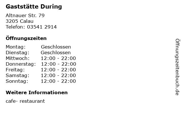 Gaststätte During in Calau: Adresse und Öffnungszeiten