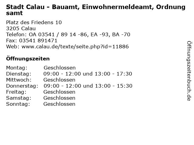 Stadt Calau - Bauamt, Einwohnermeldeamt, Ordnungsamt in Calau: Adresse und Öffnungszeiten