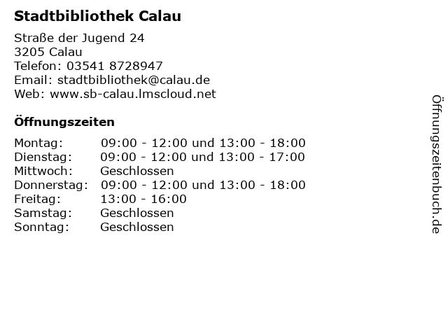 Stadtbibliothek Calau in Calau: Adresse und Öffnungszeiten