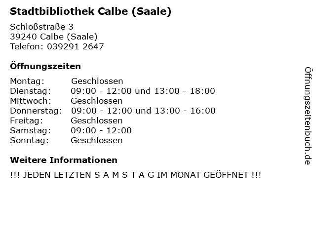Stadtbibliothek Calbe (Saale) in Calbe (Saale): Adresse und Öffnungszeiten