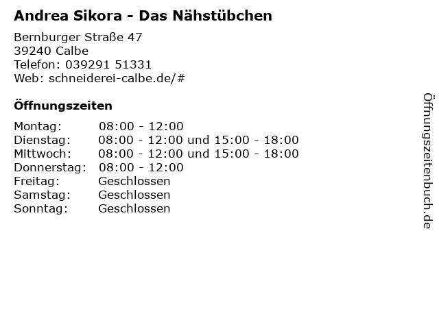 Andrea Sikora - Das Nähstübchen in Calbe: Adresse und Öffnungszeiten
