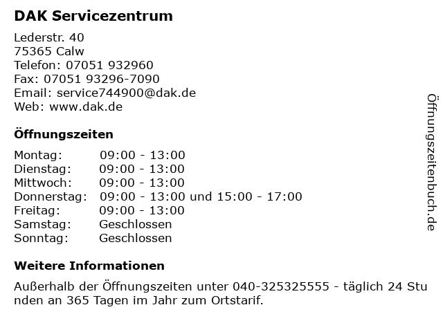 DAK Servicezentrum in Calw: Adresse und Öffnungszeiten